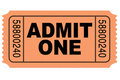 Admit one movie ticket Royalty Free Stock Photo
