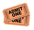 Admit one movie tickets Stock Image
