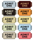 Admit one tickets collection Stock Images