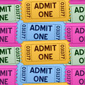 Admit one tickets seamless pattern a with colorful cinema in four different colors on white background eps file available Stock Photography