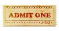 Admit one vintage ticket isolated on white Royalty Free Stock Image