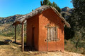 Adobe house typical hut on yhe national highway near antananarivo madagascar Stock Image