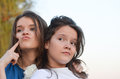 Adolescent attitude two teenage girls with specify age Royalty Free Stock Photos
