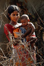 Adolescent Mother in rural India Royalty Free Stock Image