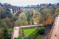 Adolphe bridge in luxembourg view of Royalty Free Stock Photography