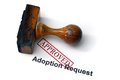 Adoption request close up of Stock Photo