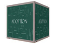 Adoption word cloud concept d cube blackboard on a with great terms such as baby parent rights love and more Royalty Free Stock Photo