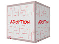 Adoption word cloud concept d cube whiteboard on a with great terms such as baby parent rights love and more Stock Photography