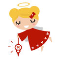 Adorable angel girl with xmas beautiful little christmas vector illustration Stock Photo