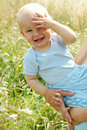 Adorable baby boy outdoors Royalty Free Stock Photos