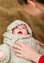 Adorable baby closeup portrait of few months old with mom Royalty Free Stock Photo