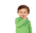 Adorable baby with green shirt Royalty Free Stock Photo