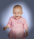 Adorable baby without hair beating the disease isolated on white background Royalty Free Stock Photos