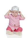 Adorable baby with a headscarf beating the disease Stock Image
