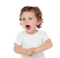 Adorable baby learning to speak Royalty Free Stock Photo