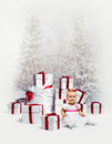 Adorable baby over christmas trees Royalty Free Stock Photos