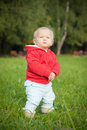 Adorable baby stay on green grass near forest Stock Images