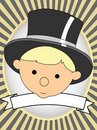 Adorable Baby in top hat product label bright oval Stock Photography