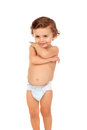 Adorable baby wearing diaper Royalty Free Stock Photo