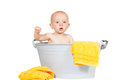 Adorable baby in a zinc bath Royalty Free Stock Photography