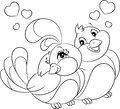 Black and white Kawaii illustration of a bird couple, hugging, with hearts over heads, for coloring book or Valentine`s Day card