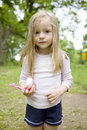 Adorable blond child girl  want to clean her teeth Royalty Free Stock Images