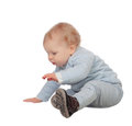 Adorable blonde baby sit on the floor blond isolated a white background Stock Photo