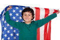 Adorable boy with american flag Royalty Free Stock Photo