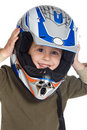 Adorable boy with a helmet in the head Stock Images