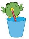 Adorable cartoon bird drinking through a straw