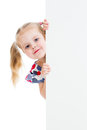 Adorable child with blank advertising banner Stock Photography
