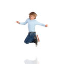 Adorable child jumping isolated white background Stock Photos