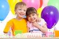 Adorable children celebrating birthday party Royalty Free Stock Photos