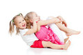 Adorable children having funny good pastime Stock Photos