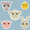 Adorable domestic animals stickers isolated Stock Photo