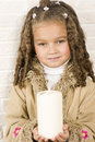 Adorable girl with candle Royalty Free Stock Image