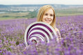 Adorable girl in fairy field of lavender carefree summer freedom enjoy concept Stock Photos
