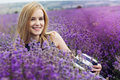 Adorable girl in fairy field of lavender carefree summer freedom enjoy concept Royalty Free Stock Images