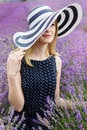 Adorable girl in fairy field of lavender carefree summer freedom enjoy concept Stock Images