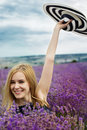 Adorable girl in fairy field of lavender carefree summer freedom enjoy concept Royalty Free Stock Photo