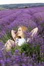 Adorable girl in fairy field of lavender carefree summer freedom enjoy concept Royalty Free Stock Image