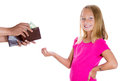 Adorable girl smiling and demanding money for allowance closeup portrait of guy pulls out from wallet to give her isolated Stock Images
