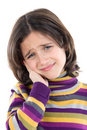 Adorable girl whit toothache Stock Images