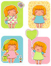Adorable girls cute cartoon over patterned backgrounds swatches are included Royalty Free Stock Photos