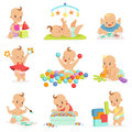 Adorable Girly Cartoon Babies Playing With Their Stuffed Toys And Development Tools Series Of Cute Happy Infants Royalty Free Stock Photo