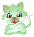 An adorable green cat illustration of on a white background Stock Image