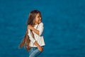 Adorable happy smiling little girl on beach Royalty Free Stock Photo