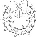 Adorable illustration of a Christmas wreath, in black and white, perfect for children`s coloring book