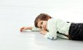 Adorable kid cute in a white shirt Stock Images
