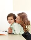Adorable kid and mother cute Royalty Free Stock Image
